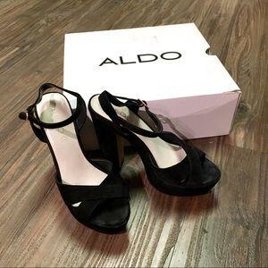 ALDO Hilger black platform block heels